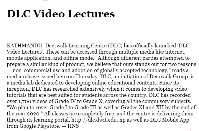 Deerwalk Learning Center- Covered by  The Himalayan Times